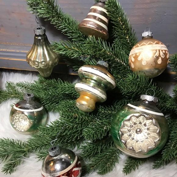 Shiny Brite Holiday Vtg Mercury Glass Christmas Ornaments Poshmark